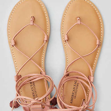 AEO Strappy Ankle Tie Sandal , Blush