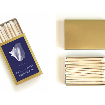 One Hundred (100) Customized Nautical Wedding Matchboxes - Pretty Shell Matches - Beach Wedding Favors - Summer Party - Light a Lovely Spark