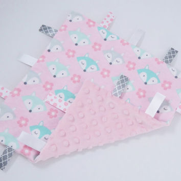 Fox Baby Gift for Girl Woodland Friends Tag Blanket Baby Girl Gift Baby Girl Tag Blanket