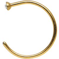 "20 Gauge 3/8"" Clear Gem Gold Anodized Titanium Nose Hoop 