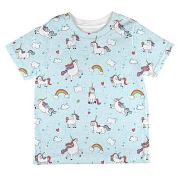 Flying Unicorn Unicorns Sky Repeat Pattern All Over Toddler T Shirt