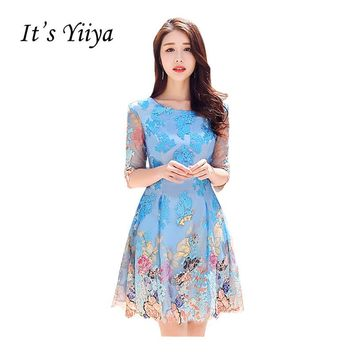 It's Yiiya Half Sleeves O-neck Vintage Taffeta Floral Party Gown Prom Gowns Lace Up Knee-length Sexy Flower Formal Dresses X316