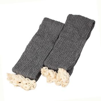 Women Lace Trim Crochet Knit Leg Warmers High Knee Stockings Light GY Sexy Warm Thigh High Over the Knee Long Cotton Stockings