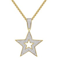 """Designer Star Iced Out Charm Pendant 24"""" Necklace"""