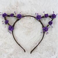 Violet Cat Ears - Flower Cat Headband - Cat Ears Headband - Kitty Ears -  Coachella Festival - Kitten Play Ears - Petplay - Kittenplay