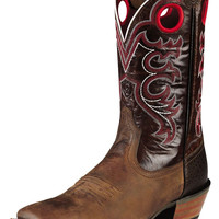 Ariat Men's Crossfire Weathered Brown with Red Stitch Wide Square Toe Western Boots 10008803