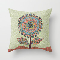 Fabby Flower-Vintage colors Throw Pillow by Groovity