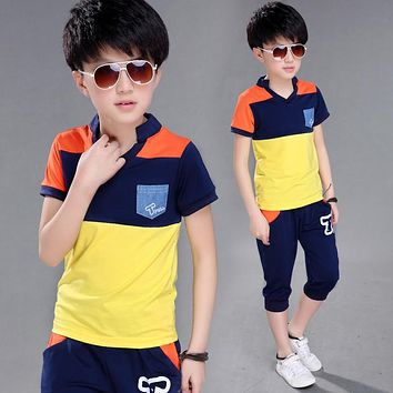 Summer Children's Clothing Kids New Summer Boys Set In The Big Boy Short Sleeve T Shirt+short Pant 2pc Sport Sets 4-14 Ages