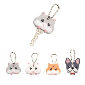 DKLW8 Lychee  Cute Mouse French Bulldog Shape PVC Key Cover Cap Key Chain Rubber Key Ring