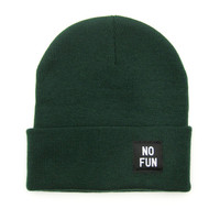 No Fun Labeled Beanie - Hunter Green