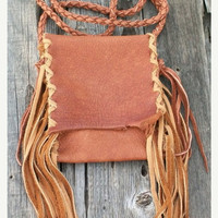 Fringed leather handbag  Buckskin crossbody smartphone bag
