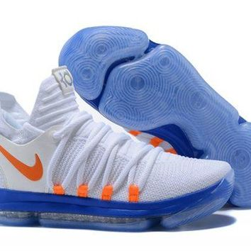 Nike KD 10 White Blue Orange For Sale