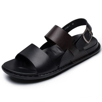 Hight Quality US-6-10 Men's Genuine Leather Thongs Summer Ankle Strap Sandals Casual Beach Shoes