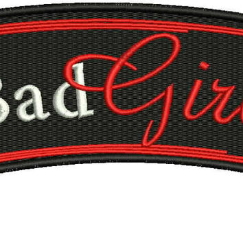 Bag Girl Red white and Black Iron on Small Badge Patch for Women Biker Vest
