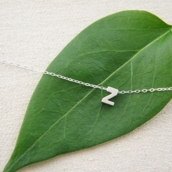 """Silver Letter, Alphabet, Initial capital  """"Z"""" necklace, birthday gift, lucky charm, layered necklace"""