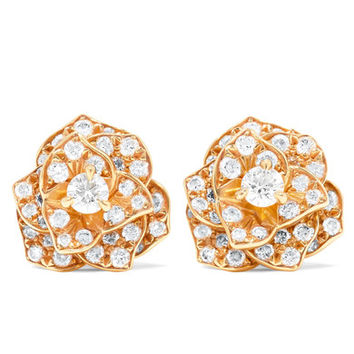 Piaget - Rose 18-karat rose gold diamond earrings