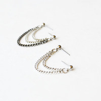 Silver and Black Chains Cartilage Lobe Double Pierce Earrings (Set of 2)