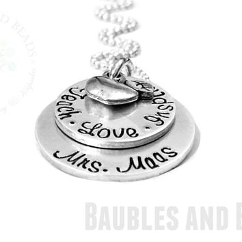 Hand Stamped Teacher Necklace - Teach Love Inspire