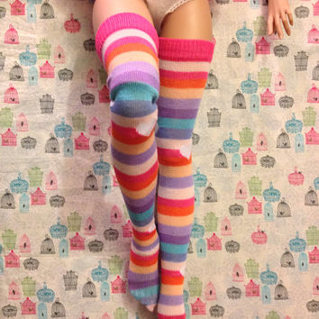 Candy Striped Thigh High Socks for SD and SD13