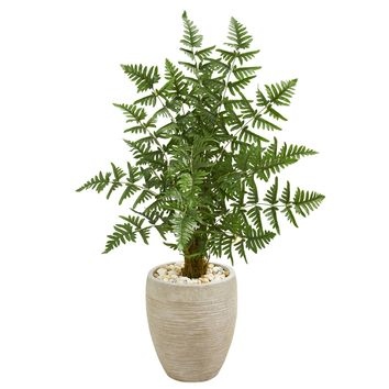 Artificial Tree -Ruffle Fern Palm Tree with Sand Colored Planter