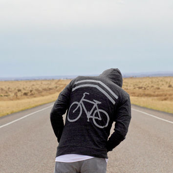 Mens sweatshirt | unisex hoodie - bike sharrows print on lightweight jersey blend hoodie  - gift for him | mens fashion - Share the Road