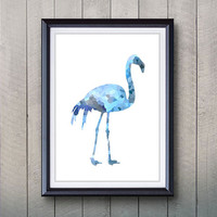 Blue Flamingo Print - Home Living - Flamingo Bird Painting - Flamingo Bird Wall Art - Wall Decor - Home Decor, House Warming Gifts