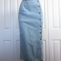 Vintage Long Denim Wrap Skirt Light Wash Denim Maxi Skirt Long Jean Skirt Womens Size 8 Lizwear Pencil Button Front Wrap Hipster Boho Hippie