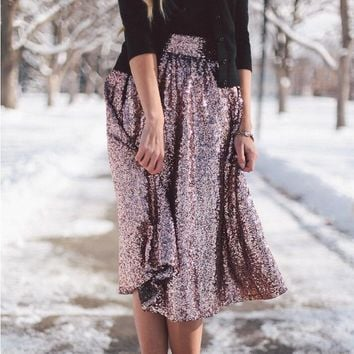 New Style Fashionable Temperament Big Swing Shiny Hot Stamping Skirt