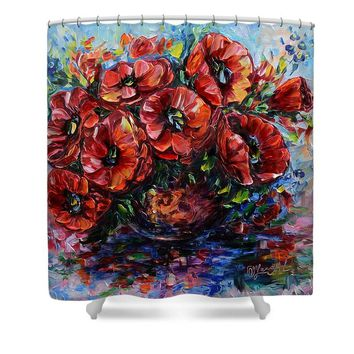 Red Poppies In A Vase - Shower Curtain