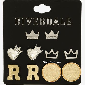 Licensed cool Riverdale Earrings Set  5 Pair Post Insertion Hot Topic Exclusive Jughead Crown