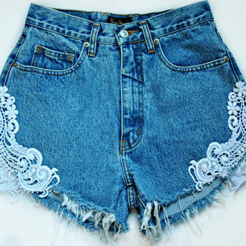 Made to Order Lace Crocheted Vintage Denim Shorts choose your size