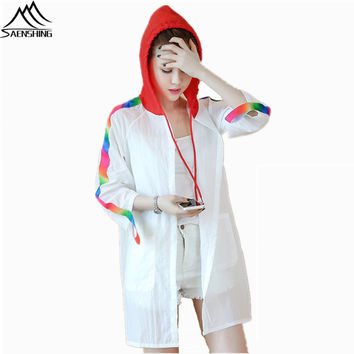 SAENSHING Women's windbreaker Summer outdoor jacket Skin Coat breathable camping hiking jacket hunting clothes Rain jacket