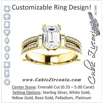 Cubic Zirconia Engagement Ring- The Kaitlyn (Customizable Emerald Cut with Flanking Baguettes And Round Channel Accents)