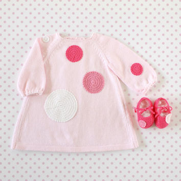 Knitted baby dress pink with crochet dots. 100% cotton. READY TO SHIP size 1-3 Months.