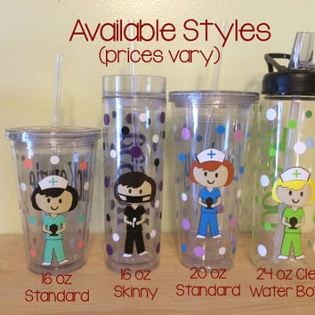 Personalized with name acrylic tumbler or water bottle - Cute Nurse, RN, or Dental hyg