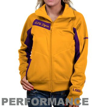 Columbia LSU Tigers Ladies Gold-Purple Velocity Trackster Full Zip Performance Jacket