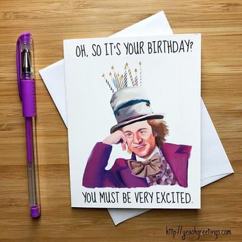 Charlie And The Chocolate Factory Willy Wonka Happy Birthday Card FREE SHIPPING
