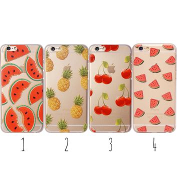 Watermelon Pineapple Cherry Summer Fruit Clear Phone case iPhone 7 Plus 8 6 6S X
