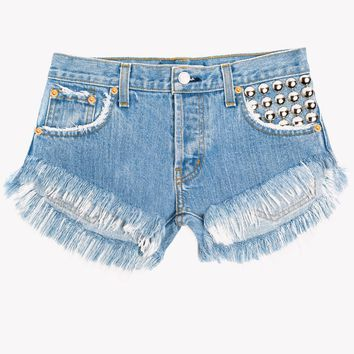 450 Stone Studded Cut Off Shorts