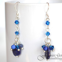 Bridal Earrings Lapis Lazuli Stone Long Drop Shape Fashion Earrings 925 Silver Hook Handmade by Flower GemStone