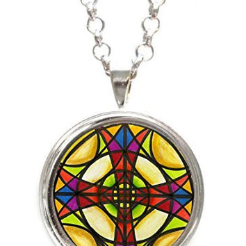 Stained Glass Illustration Cross Silver Pendant with Chain Necklace