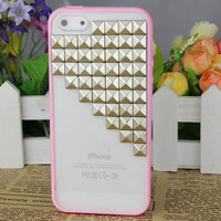 Pink transparent Hard Case Cover With Silvery Stud for Apple iPhone5 Case, iPhone 5 Cover,iPhone 5 Case, iPhone 5g