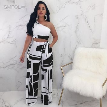 SMFOLW Sexy Two Piece Set Women 2018 Summer Printing Strapless Crop Top and Wide Leg Pants Suit Club Wear Party 2 Piece Outfits