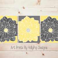 Dahlia Wall Art Yellow Gray Home Decor Set of 3 Floral Burst Prints Modern Bedroom Wall Art Bathroom Wall Art Nursery Flower Pictures #1053