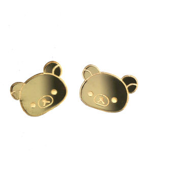 Rilakkuma Face Stud Earrings in Mirror Gold