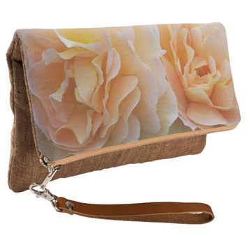 Peach Rose Duet Floral Clutch