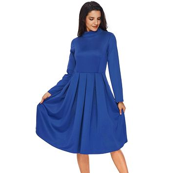Chicloth Royal Blue Pocket Style High Neck Skater Dress