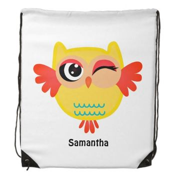 Cute miss owl drawstring backpack