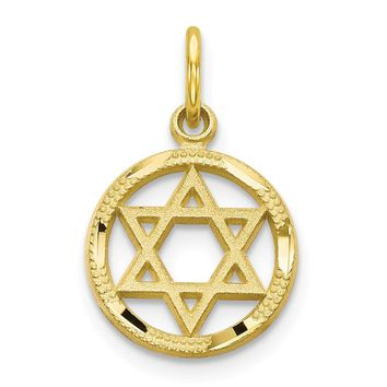 10k Yellow Gold Star of David Charm - Religious Jewelry