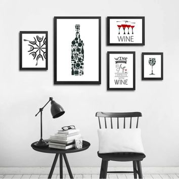 Abstract Wine Quotes Canvas Paintings Black and White Nordic Poster Print Wall Art Pop Pictures Kitchen Bar Home Decor Unframed
